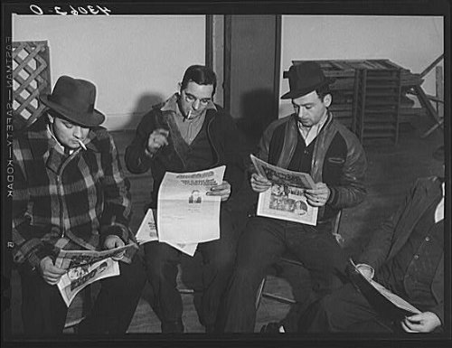Price comparison product image Photo: Union members reading 'Steel Labor' at the union hall in Midland