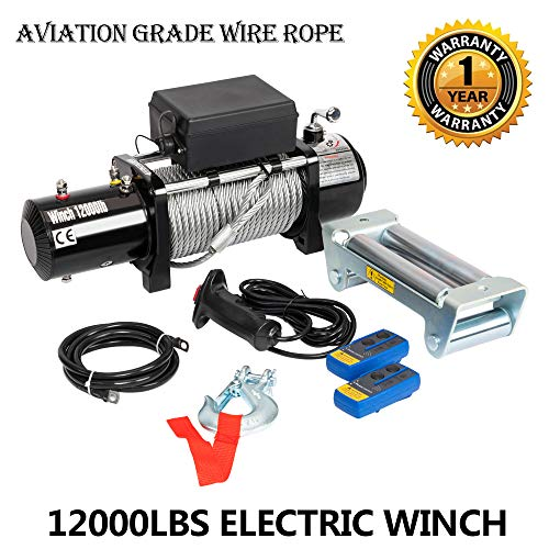 12000lbs 12V Electric Recovery Winch with Wireless Remote Towing fit