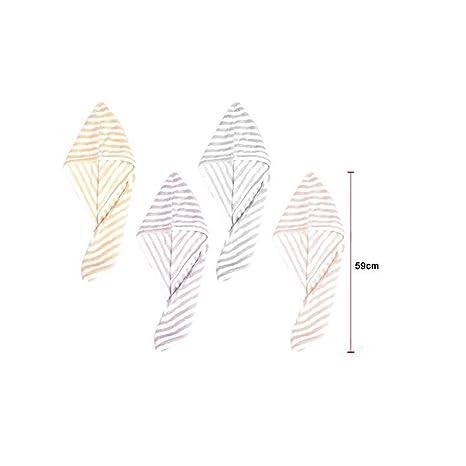 Cisne 2013, S.L. Toalla para secar el Pelo Turbante secapelo. Toalla Microfibra Secado rapido para el Pelo. Diseño de Rayas. Tamaño 59cm. Color Salmón.