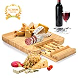 "Bamboo Cheese Board,Charcuterie Platter/Cheese Plate with Integrated Slide-out Drawer and 4 Stainless Steel Cheese Knives - Best for Gift and Gourmet,13""x13""x1.5""in"