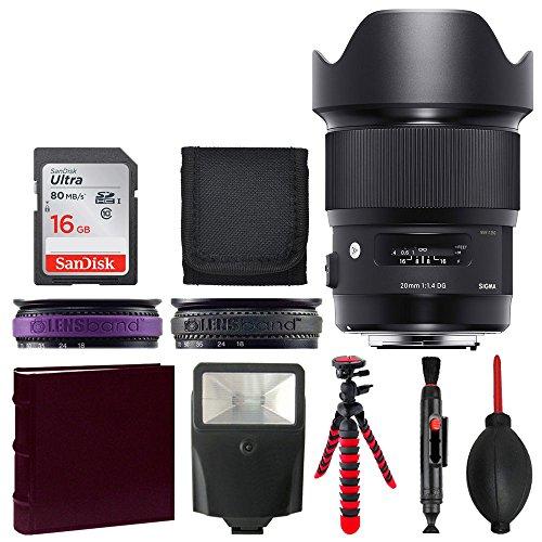 Price comparison product image Sigma 20mm F1.4 Art DG HSM Lens for Nikon + 16GB Memory Card + Photo Album + Slave Flash + Top Value Accessory Bundle