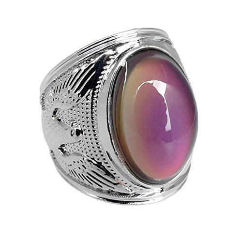 Arsmt Mood Rings King of Eagle Gem Ring Color Changing Emotion Feeling Anxiety Relex Finger Ring with Box (Size 13)