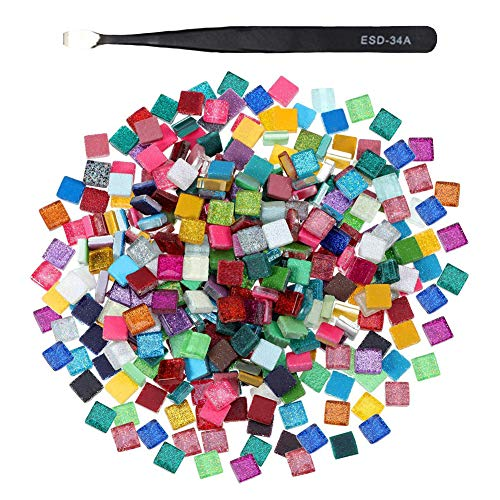 Glass Mosaic Tiles 600 Pcs/Box Mixed Color Glitter Crystal Mosaic and 1 Tweeze, Multicolor Vitreous Glass for Art & Crafts Home Decoration Walls Furniture Plates Photo Frames Flower Pots Mirrors,1cm