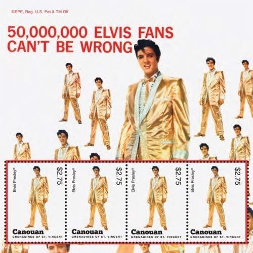 Elvis Presley - Music Legend - 50,000,000 Fans - Beautiful Collectors Stamps - Canouan