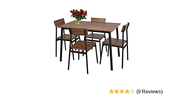 Amazon Com Lucky Tree 5 Piece Dining Set Rustic Wooden Kitchen