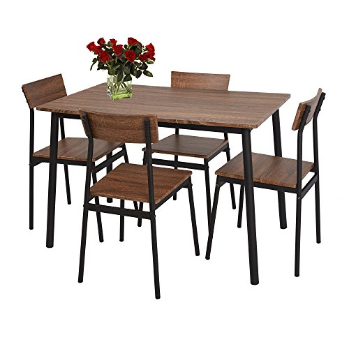 Lucky Tree 5 Piece Dining Table Set Rustic Wooden Kitchen Table and 4 Chairs Coffee Table Industrial Style