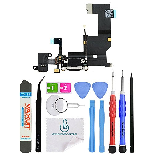 OmniRepairs Charging Lightning USB Dock Port Flex Cable Replacement with Microphone, Headphone Audio Jack Assembly For iPhone 5 Model A1428, A1429, A1442 with Premium Repair Toolkit (Black)