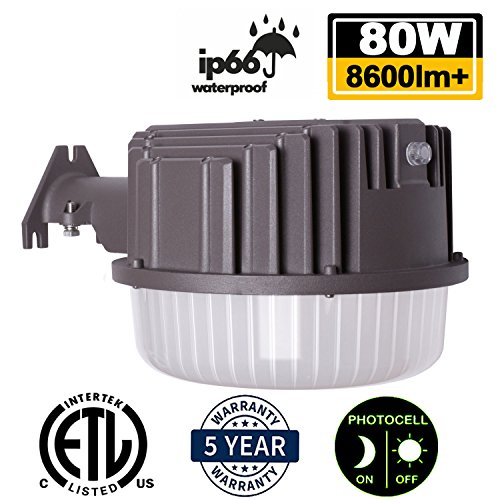 Light Area Security (AntLux 80W LED Dusk to Dawn Light Outdoor Barn Lights, 8600lm, 5000K Daylight, Photocell Included, Perfect Security Area Street Yard Light, 700W Incandescent or 200W MH/HID Equivalent, Bronze Finish)
