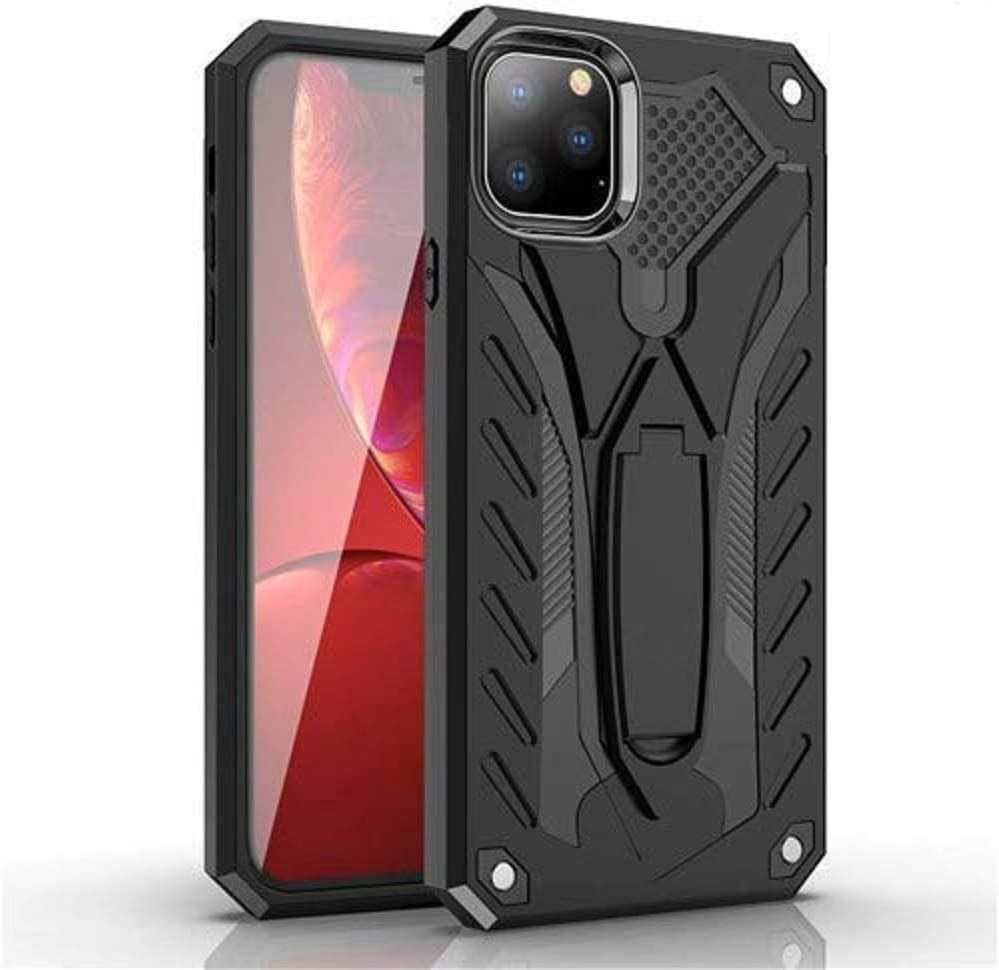 Funfe Dual Layers Armor Built-in Kickstand Impact Resistant Rugged Protective Cover Case for Apple iPhone 11 Pro Max (2019) 6.5 inches (Black)