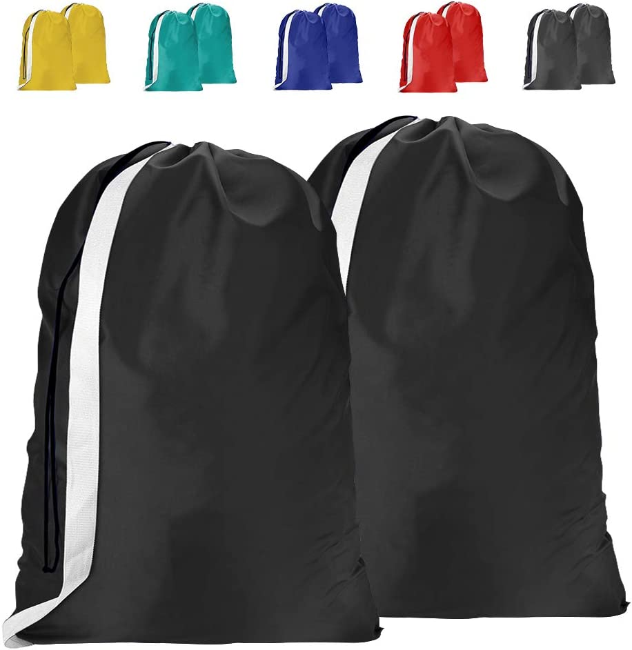 2 Pack Extra Large Laundry Bag with Strap, 30 x 40 Inches Rip-Stop Nylon Heavy Duty Dirty Clothes 150L Organizer Bag with Drawstring, Machine Washable, Clothes Storage,Black