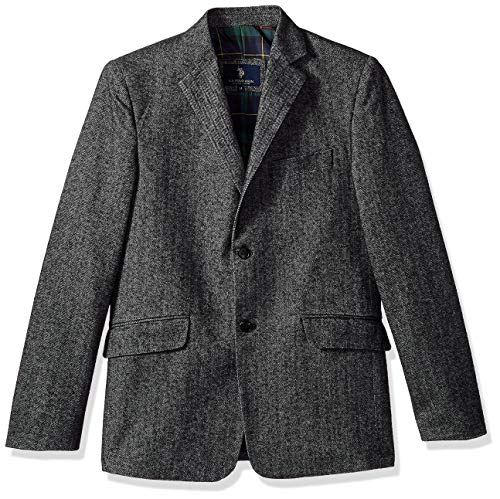 U.S. Polo Assn. Boys Cotton Herringbone Sport Coat, Black/White 12