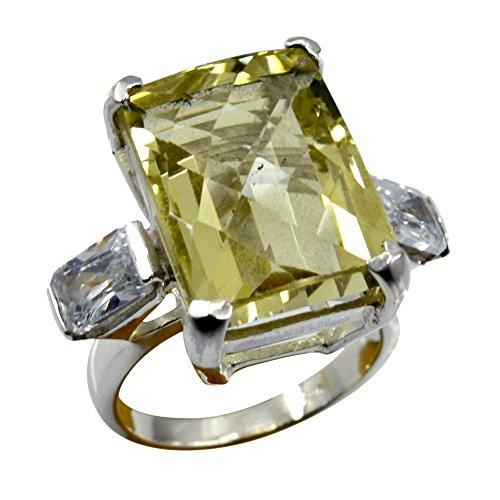 Genuine Lemon Quartz Ring Emerald Cut Multi Stone Solid Silver For Gift Handmade Size 5,6,7,8,9,10,11,12