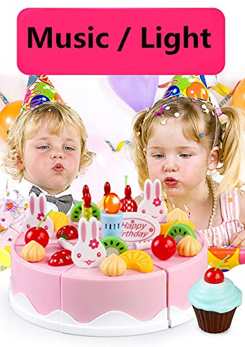 KKING Birthday Party Cake Play Cart Set -Birthday Gift Children's Day Gift Play Food Cake Toy Set DIY Pretend Cutting Cake Toys 56 Pieces for 3+ Kids (Flashing Candle Included) by KKING (Image #3)