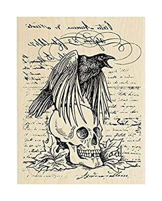"{Single Count} Unique & Custom (4"" by 5 1/4"" Inches) ""Halloween Skull Raven Scribbled Text Collage"" Rectangle Shaped Genuine Wood Mounted Rubber Inking Stamp"