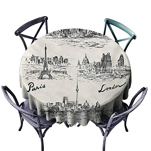 (VIVIDX Stain Round Tablecloth,Travel,Silhouettes of Different Popular Cities in World Paris Sidney Berlin London Print,Party Decorations Table Cover Cloth,60 INCH,Cream)