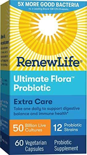 Renew Life Adult Probiotic - Ultimate Flora Extra Care Probiotic Supplement - Gluten, Dairy & Soy Free - 50 Billion CFU - 60 Vegetarian Capsules