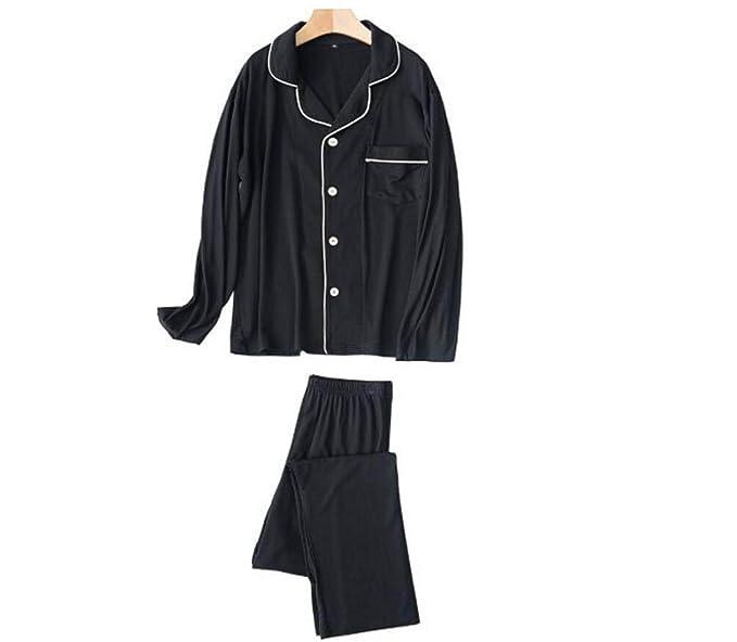 GSHGA Pijamas Par Que Hacen Punto Trajes De Interior Pijamas Ocio Primavera Y Otoño,Black