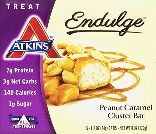 (2 Pack) Atkins Endulge Bar, Peanut Caramel Cluster Bars, (5) 1.2 oz. Bars (Endulge Bar Peanut)