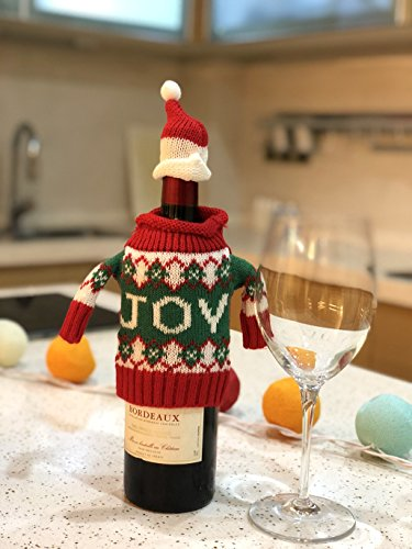 FEFEHOME Christmas Wine Bottle Cover Gift Warping Ugly Sweater (Set of 4) -(F) by FEFEHOME (Image #3)