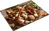 MSD Place Mat Non-Slip Natural Rubber Desk Pads design 23046088 llect Autumn still life with full basket of mushrooms studio photography of gustable