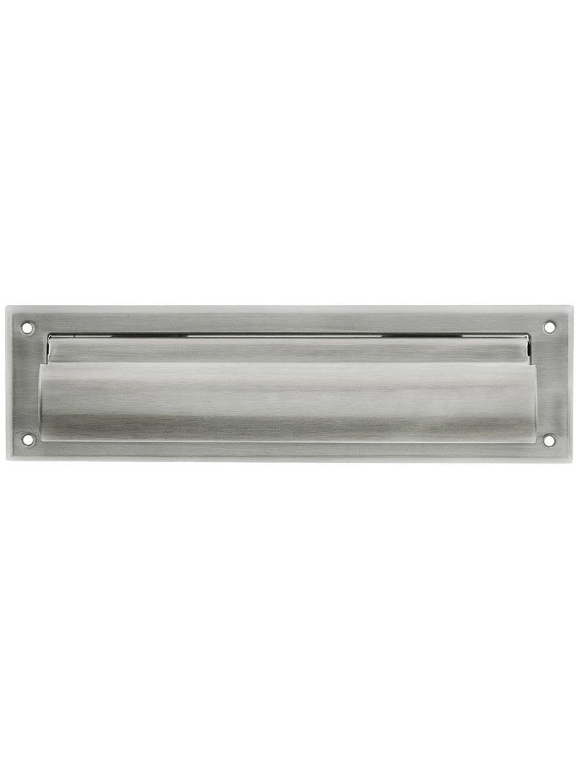 Solid Brass Magazine Size Mail Slot Front for Exterior Mounting in Satin Nickel.