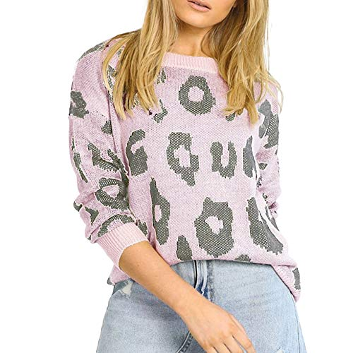 Carprinass Women Cute Leopard Print Sweater Pullover Winter Cozy Knitwear Pink L