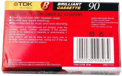 TDK B-90 Normal Position Type I 90 Min-Low Noise High Output Pack of 5 Brilliant Cassette Tapes