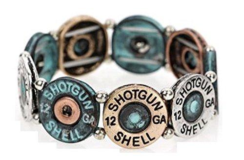 Western Faux 12 GA Gauge Shotgun Bullet Shell Jewelry Bracelet Jp Silver Gold (Patina Turquoise Blue) (Shotgun Shell Jewelry)