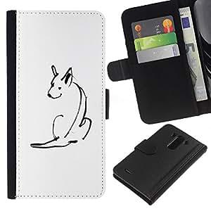 Be-Star la tarjeta de Crédito Slots PU Funda de cuero Monedero caso cubierta de piel Para LG G3 ( Minimalist Cute Dog Sketch Pet White )