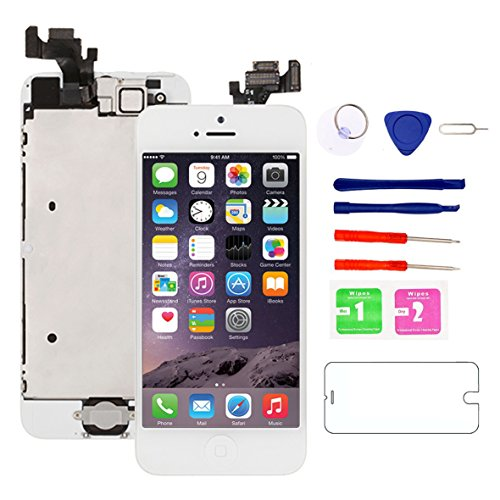 for iPhone 5 Screen Replacement [White] with Home Button, Nroech Full Retina LCD Display Touch Screen Digitizer Assembly Replacement Repair Tools Tempered Glass Protector (Iphone 5 Screen Replacement Only)