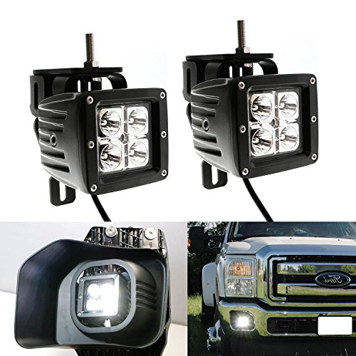 iJDMTOY 40W CREE High Power LED Fog Light Kit w/ Bumper Metal Mounting Brackets For 1999-2016 Ford F-250 F-350 F-450 Super Duty (2010 F350 Accessories Ford Truck compare prices)