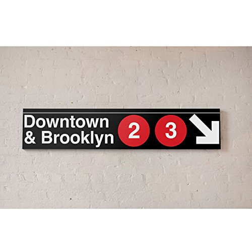 NYC MTA Metal Sign - Downtown & Brooklyn 2 & 3 - Nyc Downtown Brooklyn