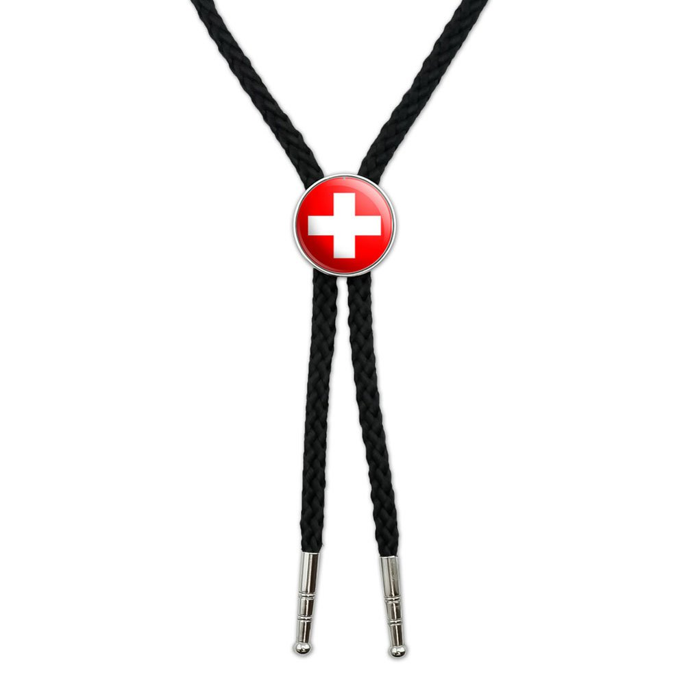 Switzerland Swiss Flag Western Southwest Cowboy Necktie Bow Bolo Tie Graphics and More BOLOTIE.PL.0414