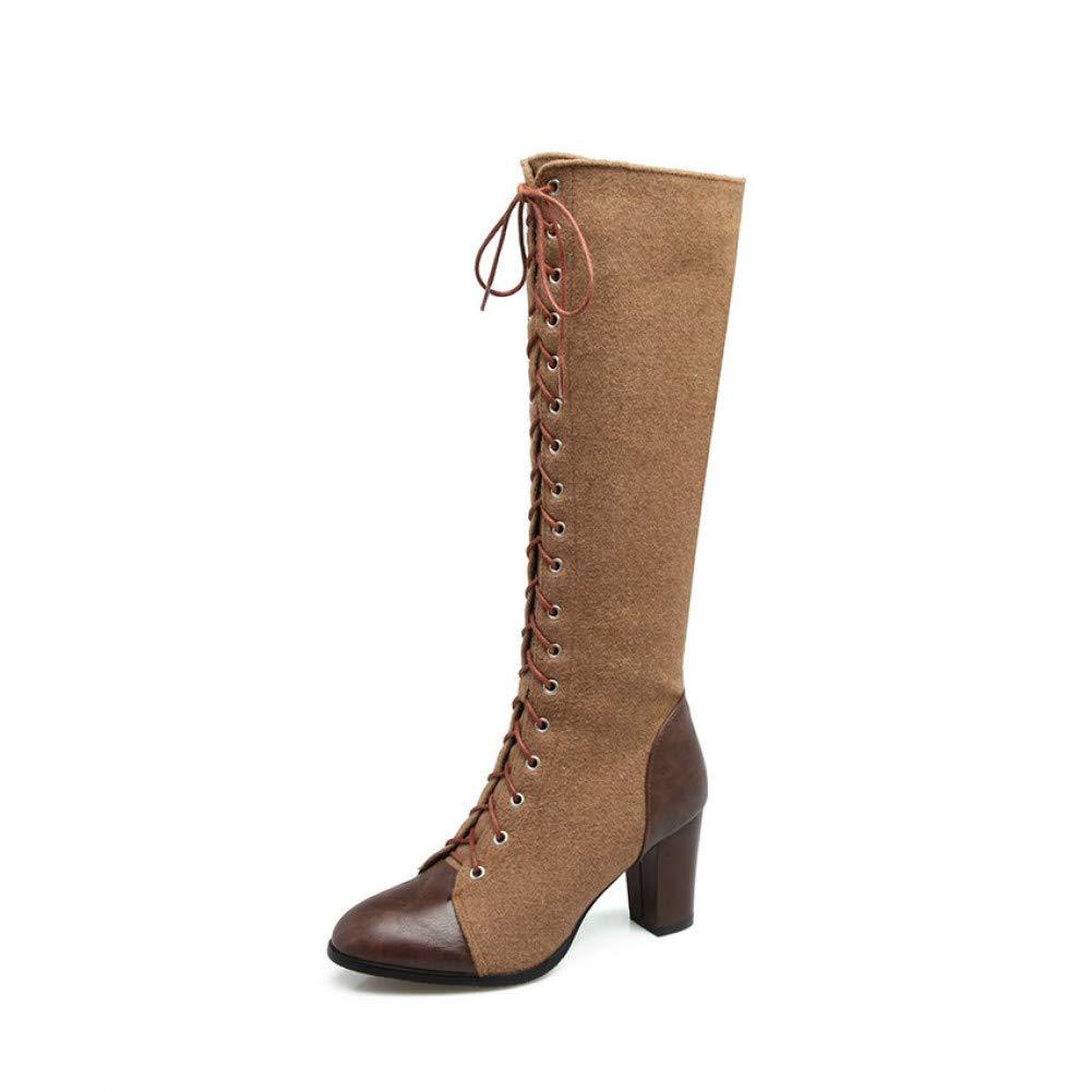 Ai Ya-xuezi Square High Heel Westliche Frauen Gemischten Farben Damen Stiefel Kniehohe Stiefel Schnürschuhe Braun Motorrad Stiefel Größe 34-39