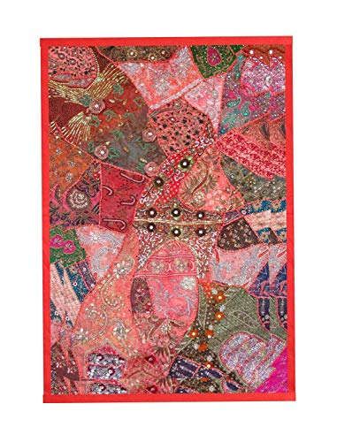 Rastogi Handicrafts Wall Hanging Vintage Cotton Embroidered Patchwork Tapestry Indian Handmade Decor Wall Hanging - Sari Tapestry