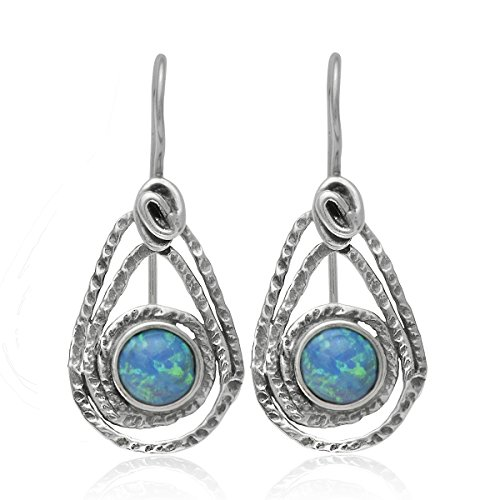 Teardrop 925 Sterling Silver Earrings with Created Blue Fire Opal and Secure Backs Women's Jewelry