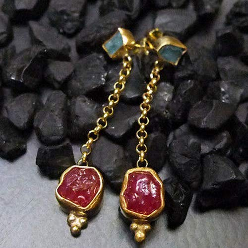 Ancient Design Jewelry Handmade Designer Rough Ruby & Apatite Earring 22K Gold over 925 Sterling Silver ()