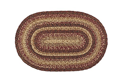 IHF Home Decor Seneca Oval Jute Braided Area Rug Floor Carpet 20 x 30 Inch