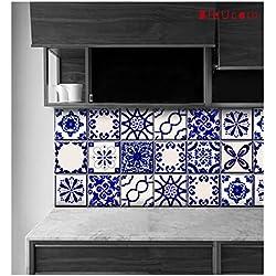 """Calcomanías clásicas para azulejos de Talavera, azules y blancas, para azulejos de cocina, baño, encimera, adhesivos para contrahuellas de escaleras, calcomanías autoadhesivas para decoración del hogar (44 unidades), 11 diseños., Azul (Mix Blue), 7"""" x 7"""" Inches, 44"""
