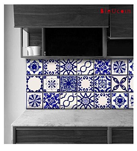 Calcomanías clásicas para azulejos de Talavera, azules y blancas, para azulejos de cocina, baño, encimera, adhesivos para...
