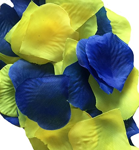 Blue Yellow Wedding Flowers - 300pc Pack-royal Blue,yellow Artificial Rose Petal
