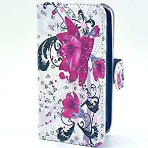JJE Purple Flowers Pattern Glitter PU Leather Case with Stand for Samsung Galaxy S3 I9300