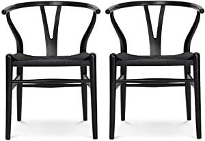 VODUR Wishbone Chair Natural Solid Wood Dining Chair/Hans Vegner Y Chair Rattan and Wood Accent Armrest Chair - Set of 2 (Ash Wood - Black)