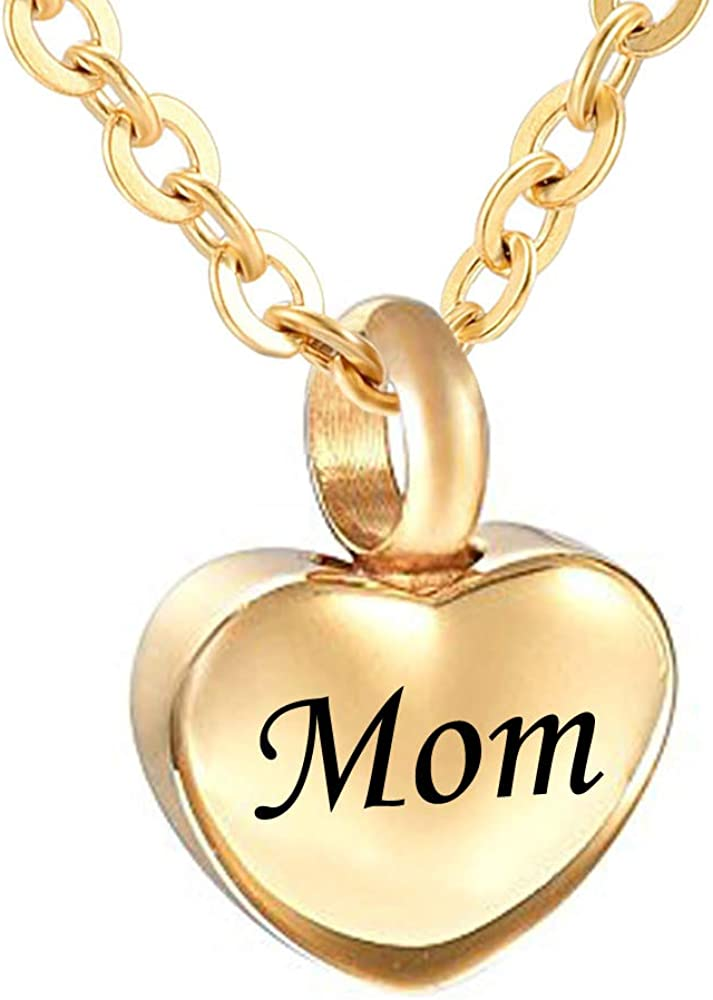 misyou Cremation Jewelry for Ashes Dad Mom Memorial Urn Necklace Keepsake Pendant Gold Heart Necklace