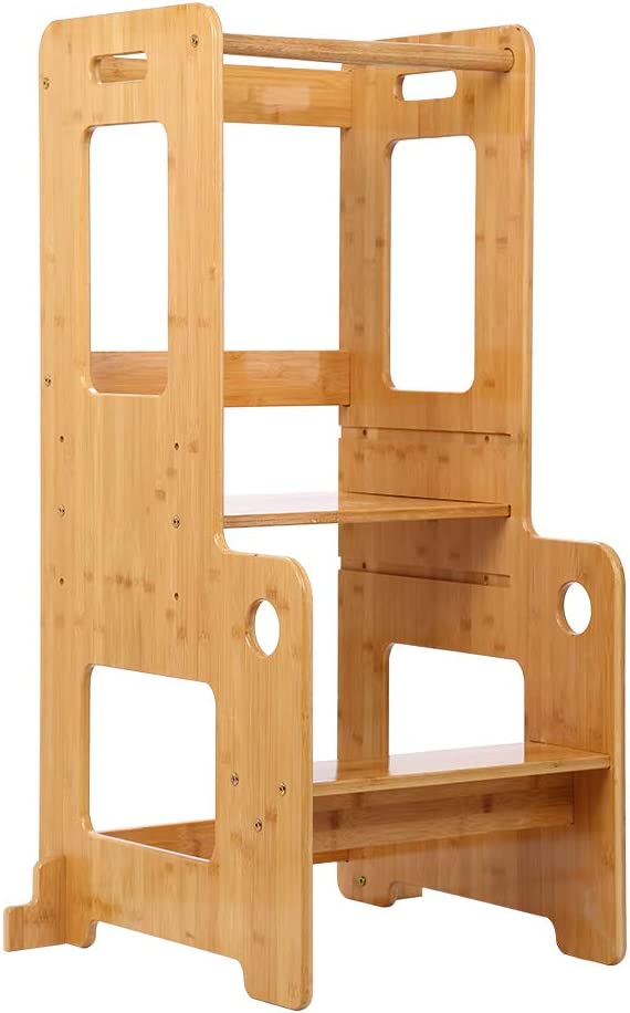 Learning Tower Toddler Step,Adjustable Height with Safety Rail,Solid Wood,Varnished Kitchen Step Stool for Children