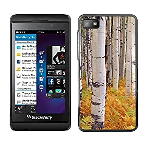 rígido protector delgado Shell Prima Delgada Casa Carcasa Funda Case Bandera Cover Armor para Blackberry Z10 /Ferns Birch Trees Nature Yellow/ STRONG