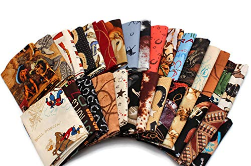 Assorted Fat Quarters - 10 Fat Quarters - Assorted Western Cowboys Old West Out West Horses Rodeo Horse Lasso Boots Horseshoes Classic Quality Quilters Cotton Fabric Bundle M221.11