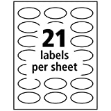 """Avery Oval Labels with Sure Feed for Laser & Inkjet Printers, 1-1/8"""" x 2-1/4"""", 63 White Labels"""