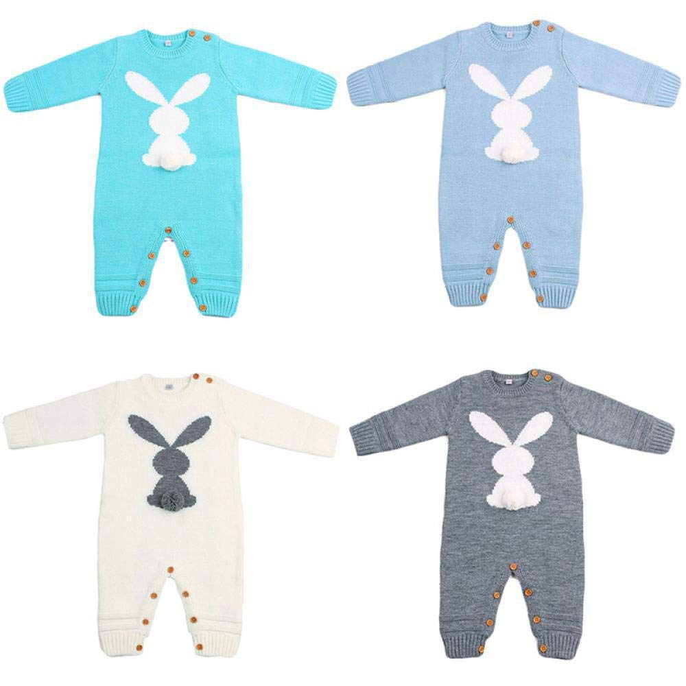 Baby Rompers Rabbit Knitted Toddler Boys Jumpsuits Long Sleeve Newborn Infant Bunny Onesie Outfits Button Costume LB1 12M