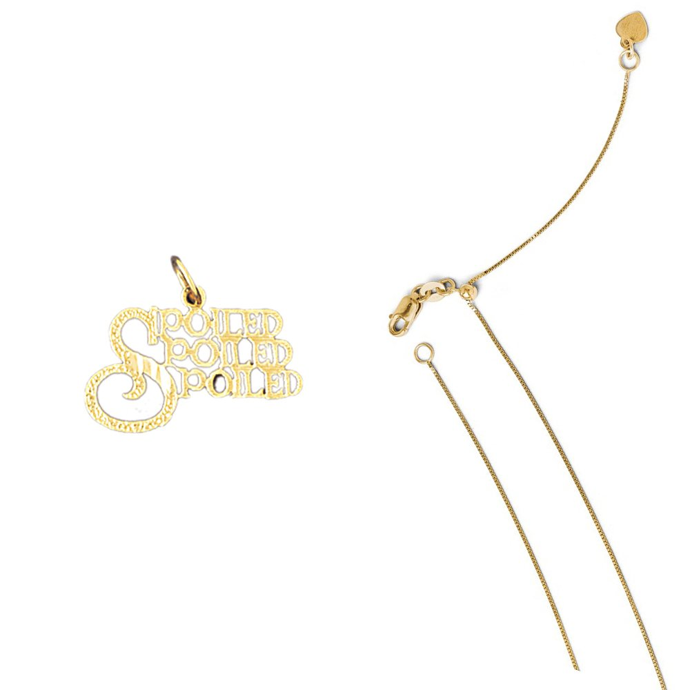 14K Yellow Gold Spoiled Spoiled Spoiled Pendant on an Adjustable Chain Necklace